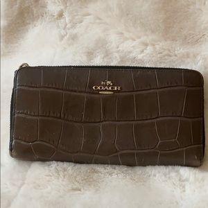 Coach Brown Crocodile Embossed Wallet